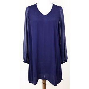 Express Dark Blue Sheer Long Sleeve Shift Dress